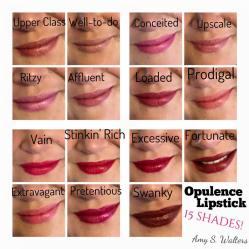 Opulence Lipstick: 15 shades